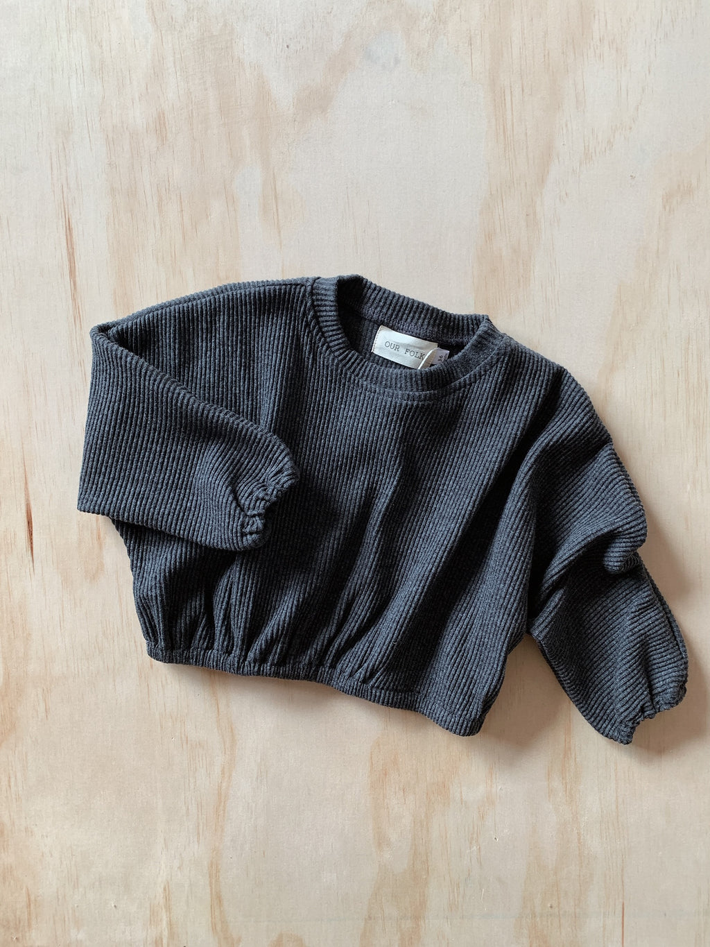 Ribbed Pullover in Charcoal