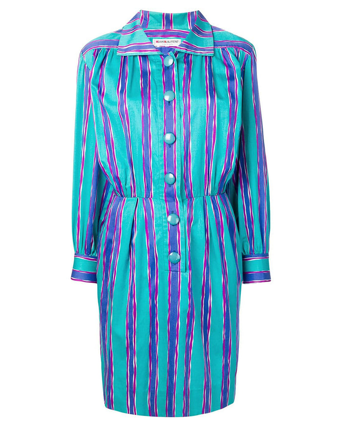 1980s Striped Shirt Dress