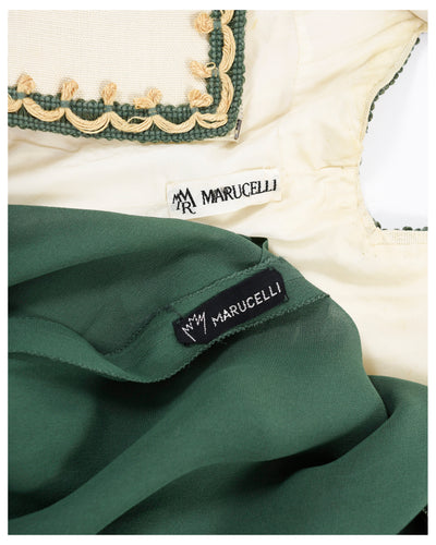 Marucelli 1970s Embroidered Suit Dress 3 pc - Cavalli e Nastri