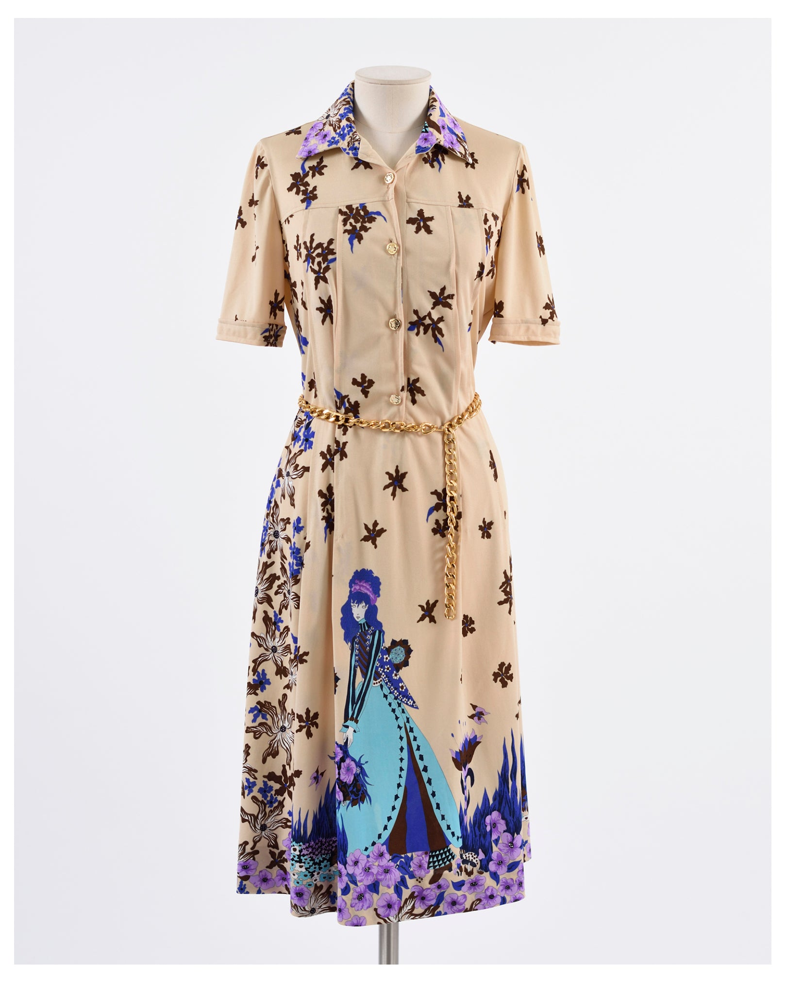 Novelty Print Vintage 1970s Jersey Dress - Cavalli e Nastri