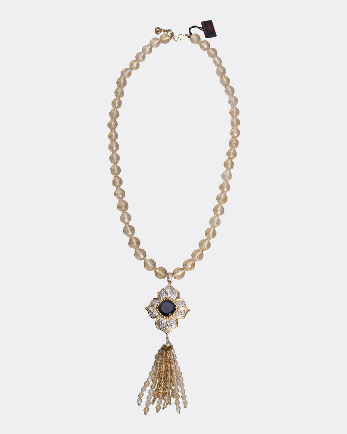 Long Pearly Beads with Gold Flower Pendant Necklace
