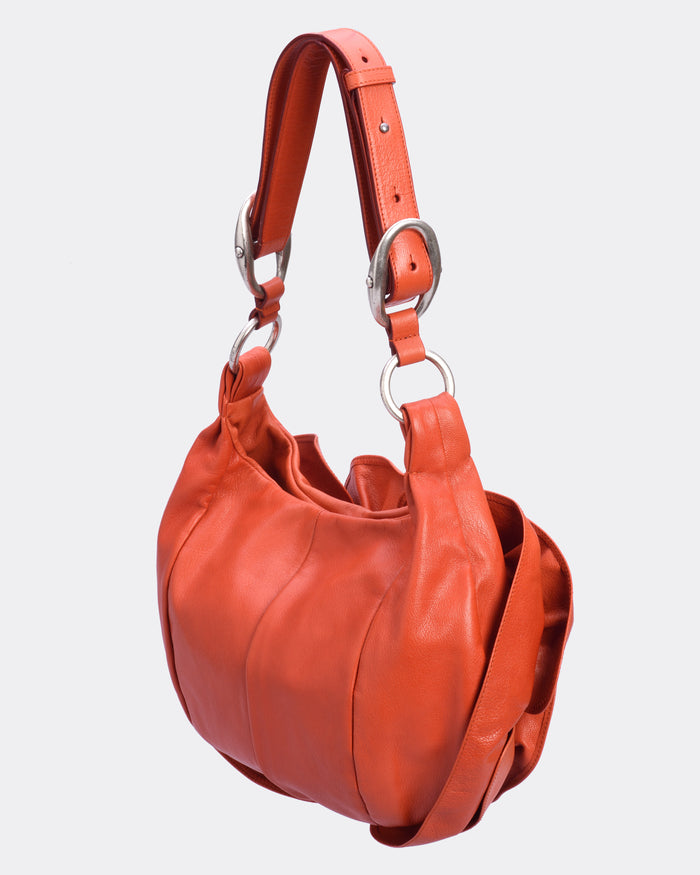 Yves Saint Laurent Chevre Nadja Flower Orange Leather Bag