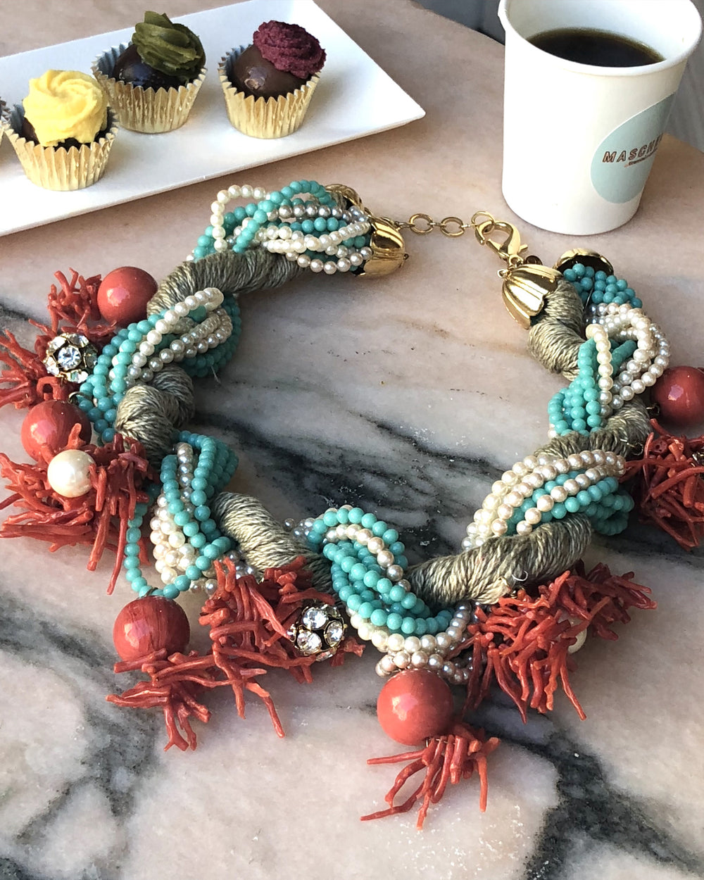 Chunky Coral Pearls Necklace