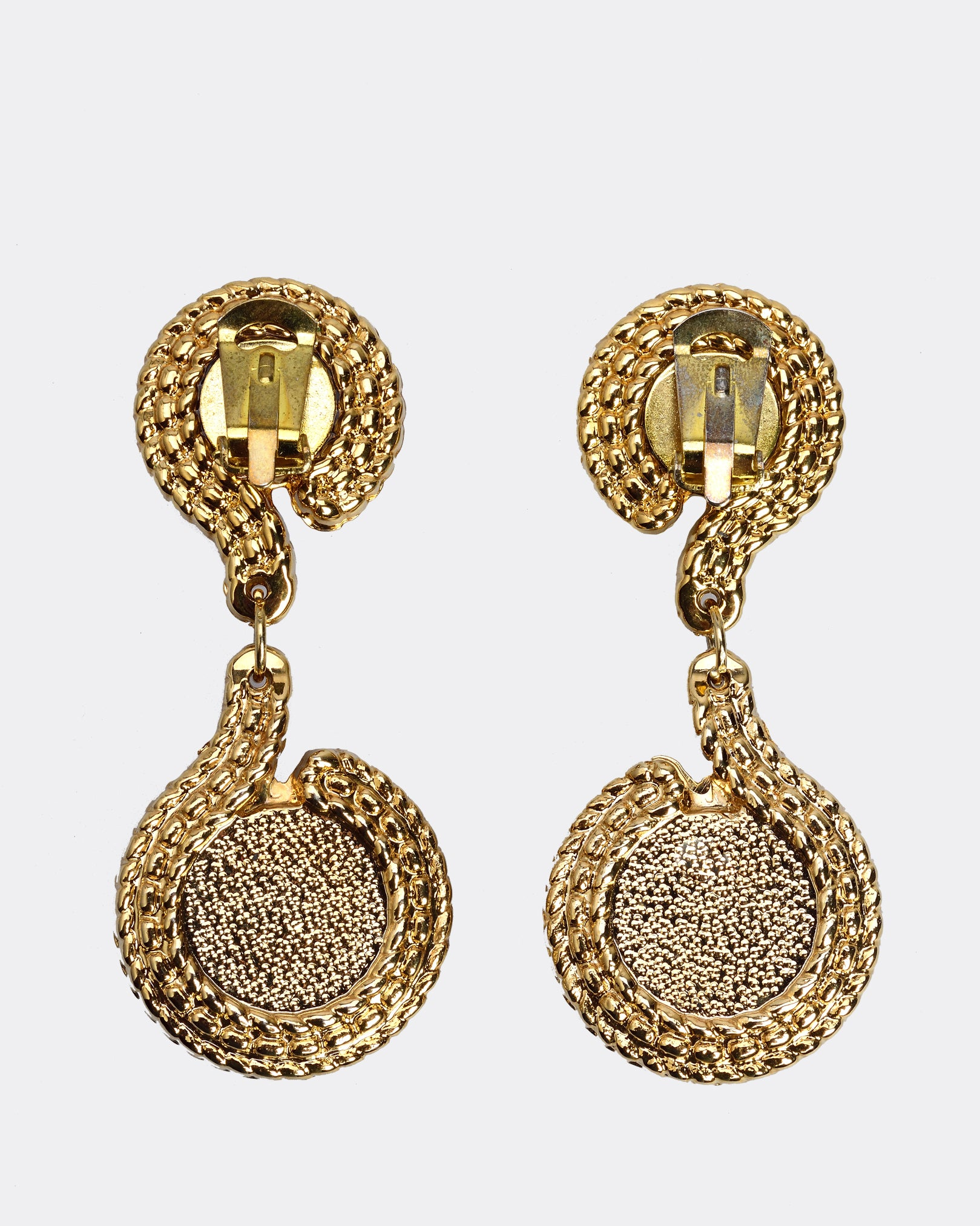 1980s Circular Goldtone Drop Earrings