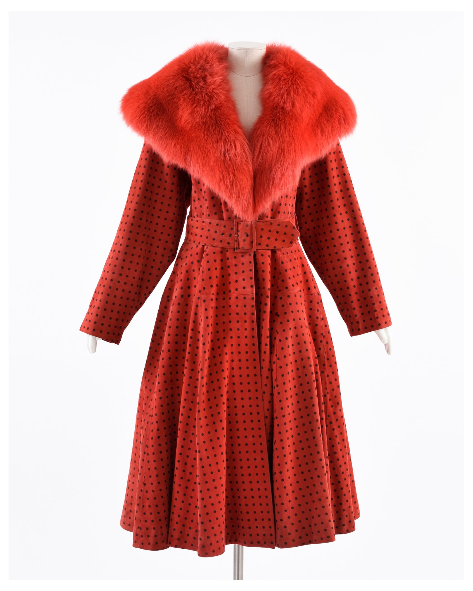 Carlo Tivioli 1980s Suede and Fur Swing Overcoat and Large Brim Hat-Cavalli e Nastri