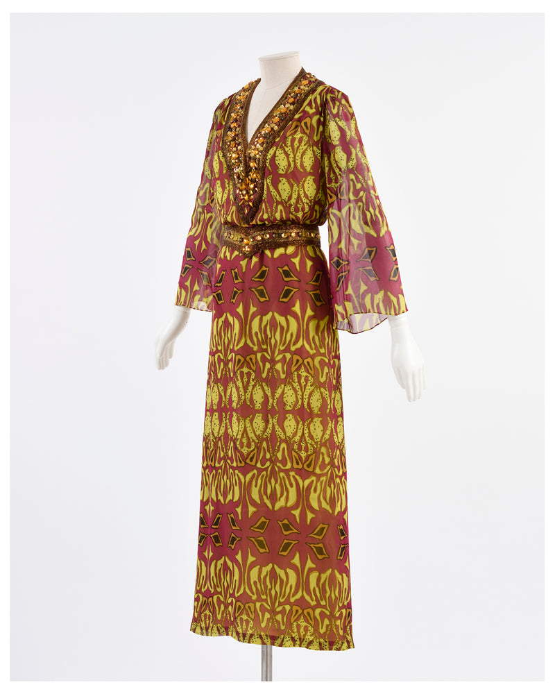 1970s Printed Silk Long Dress-Cavalli e Nastri