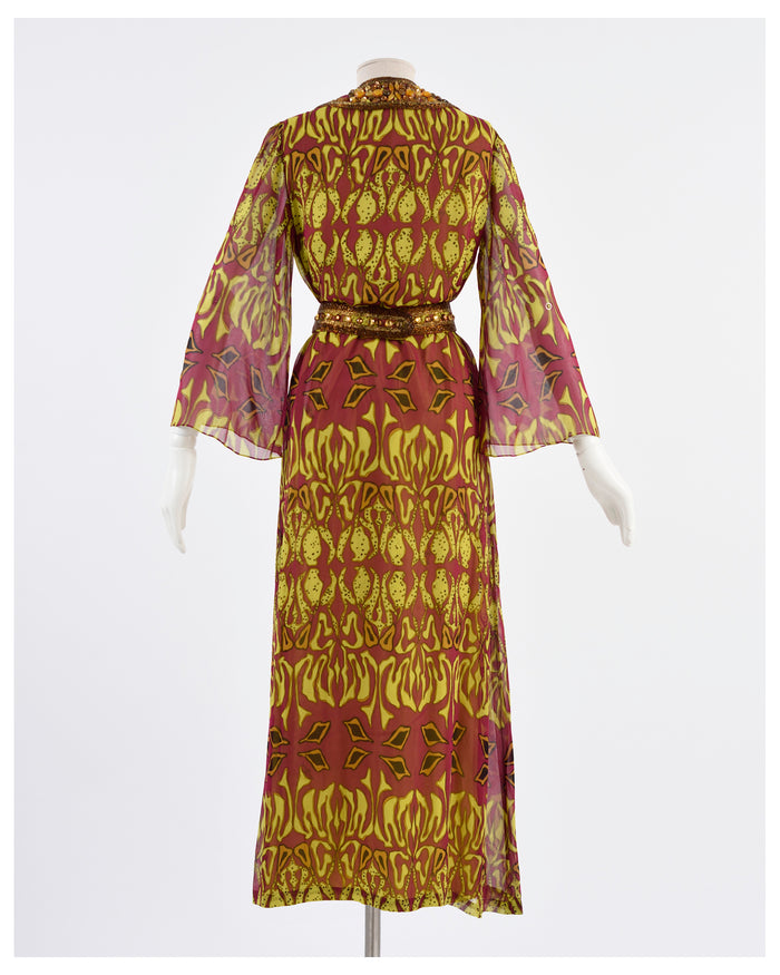 1970s Printed Silk Long Dress
