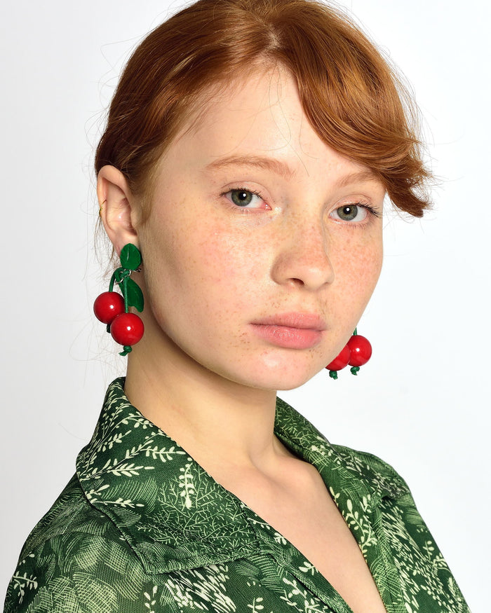 VINTAGE Cherry Clip-On Earrings