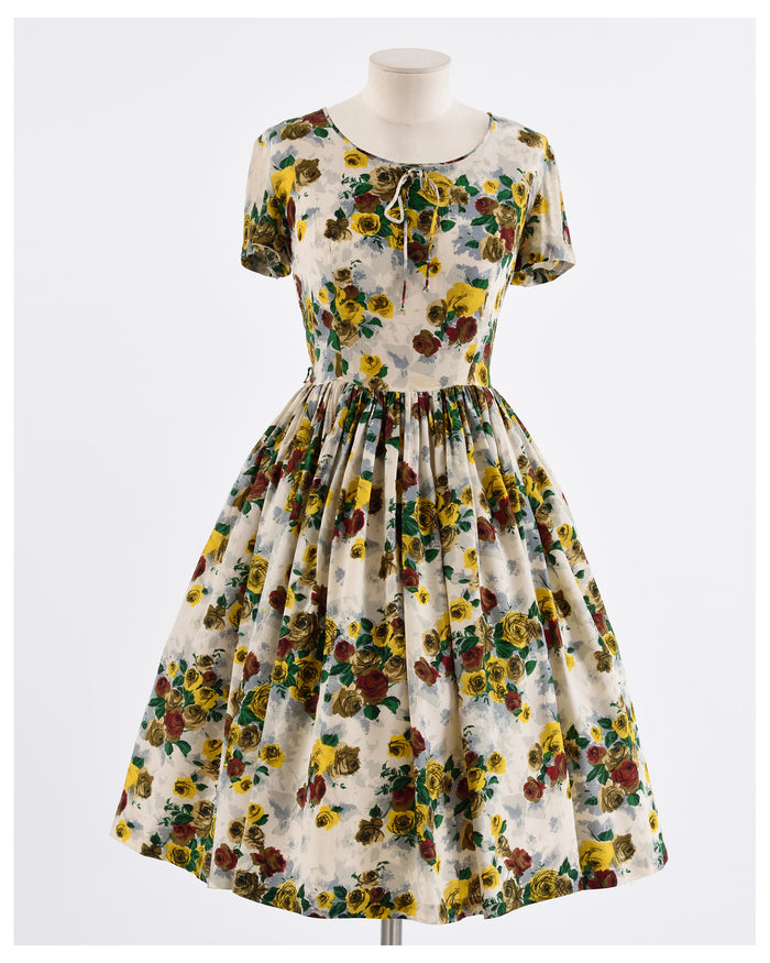 Rockabilly 1950s Floral Dress - Cavalli e Nastri