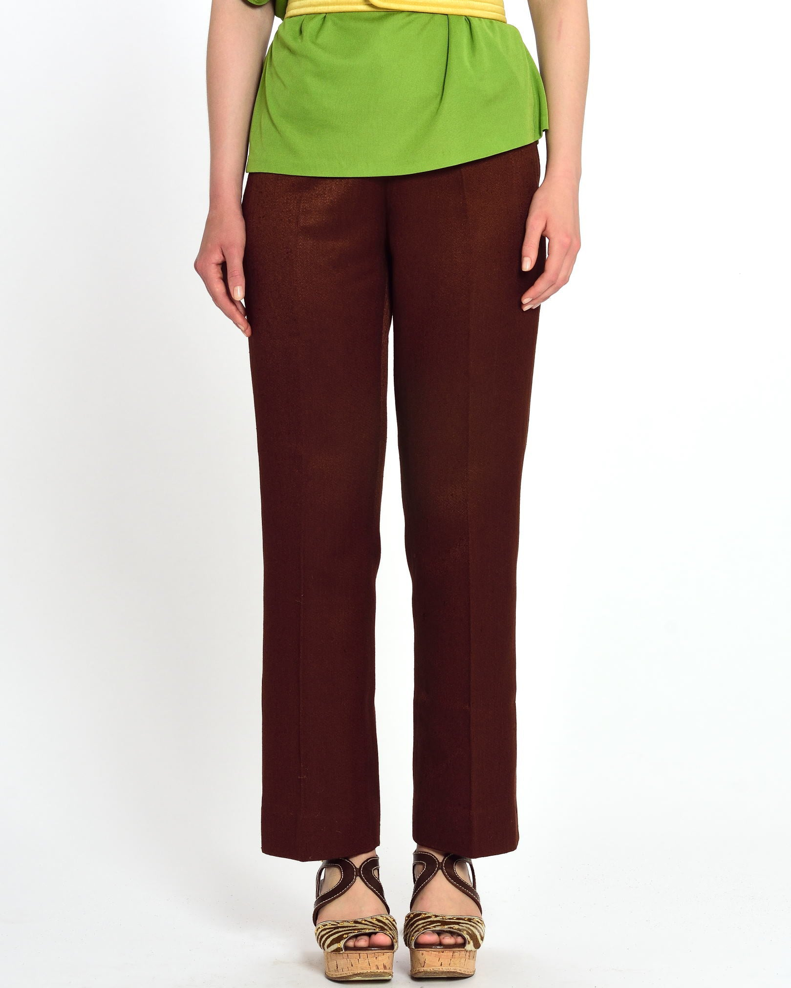 GIO CARÈ Brown Flared Pants
