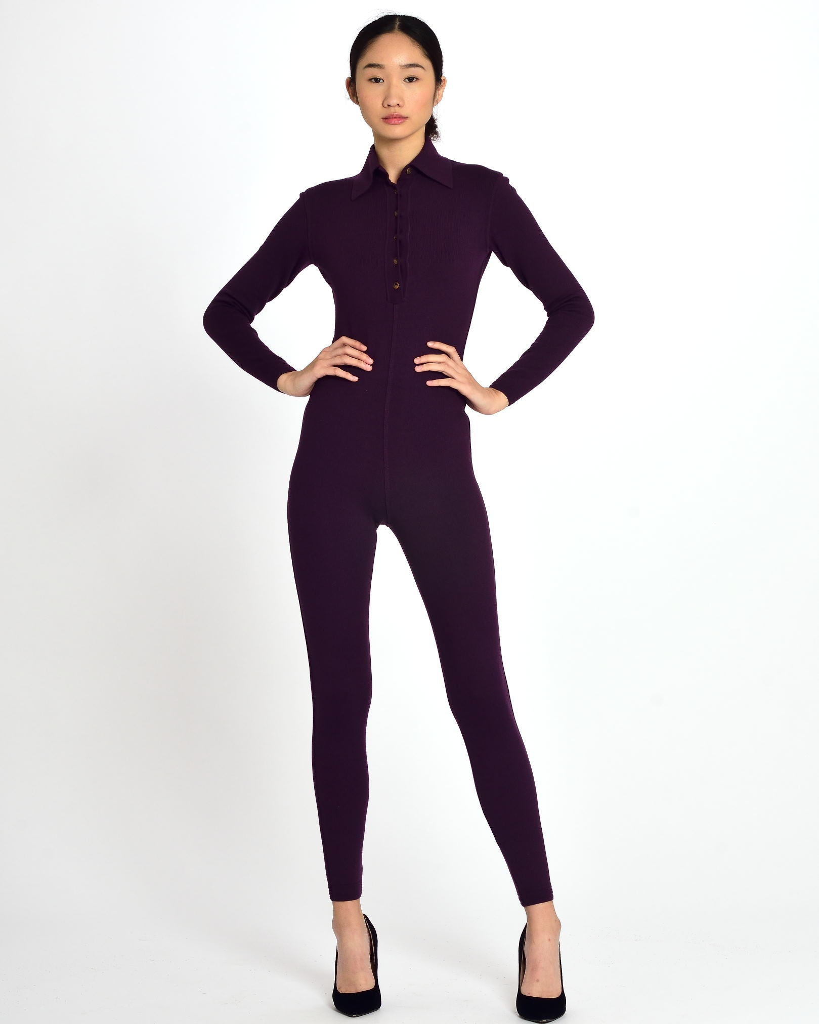 ALAÏA Purple Jersey Jumpsuit