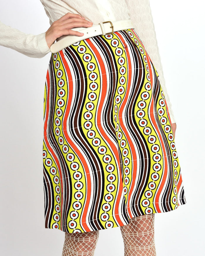 GIO CARÈ 1970s Abstract Print Skirt-Cavalli e Nastri