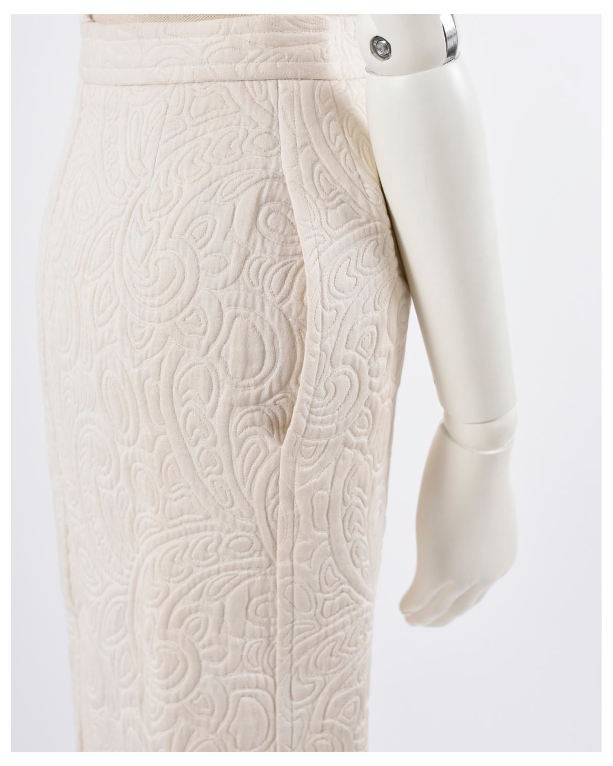 1980s Ivory Quilted Suit Dress