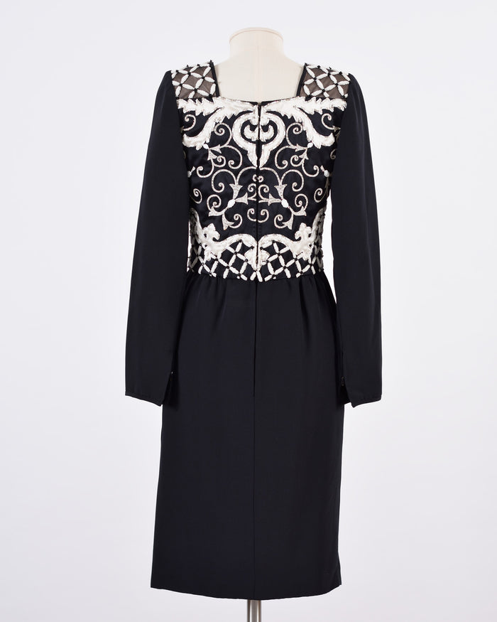 VALENTINO White Baroque Embroidered Cocktail Dress