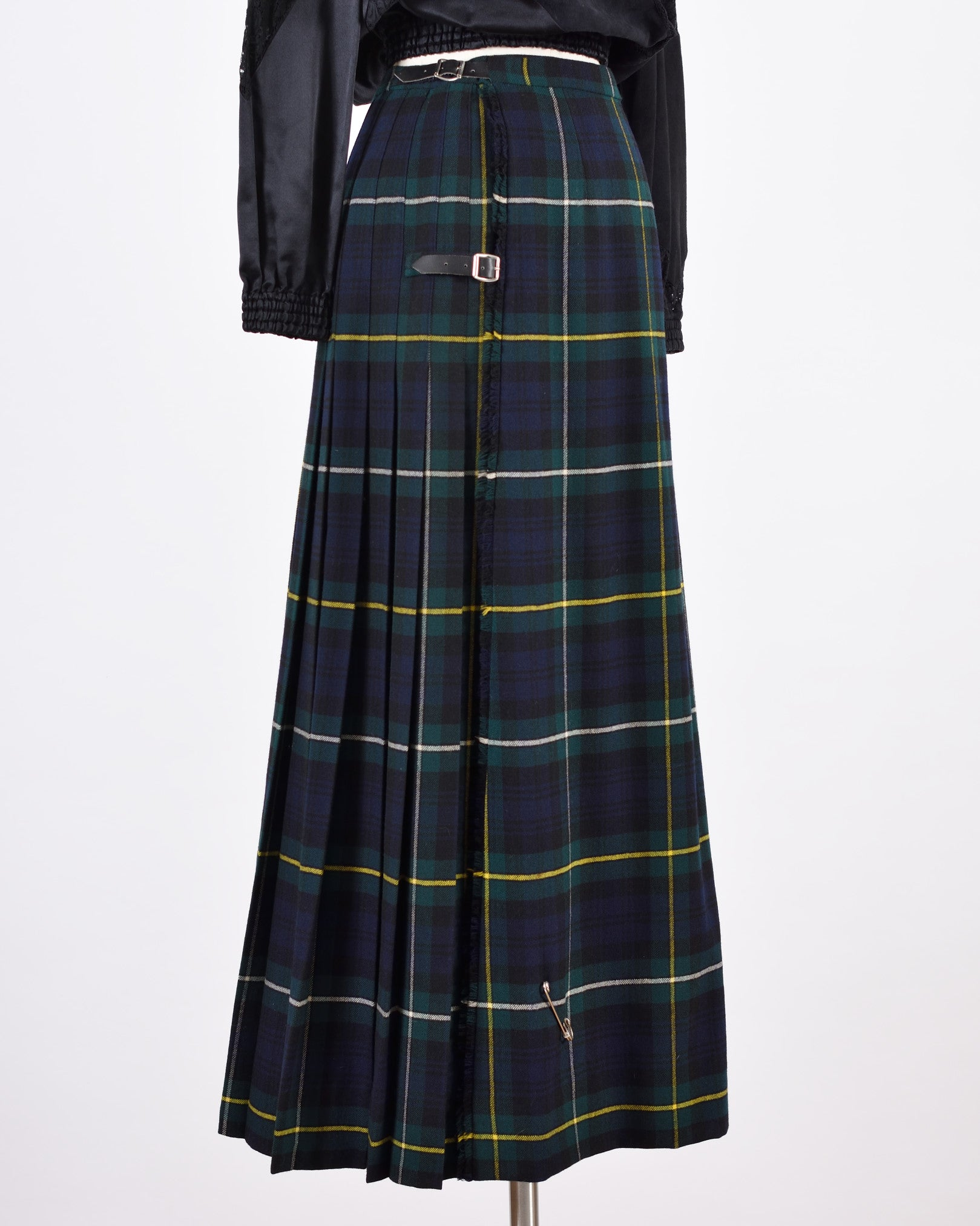 Green Tartan Pleated Skirt