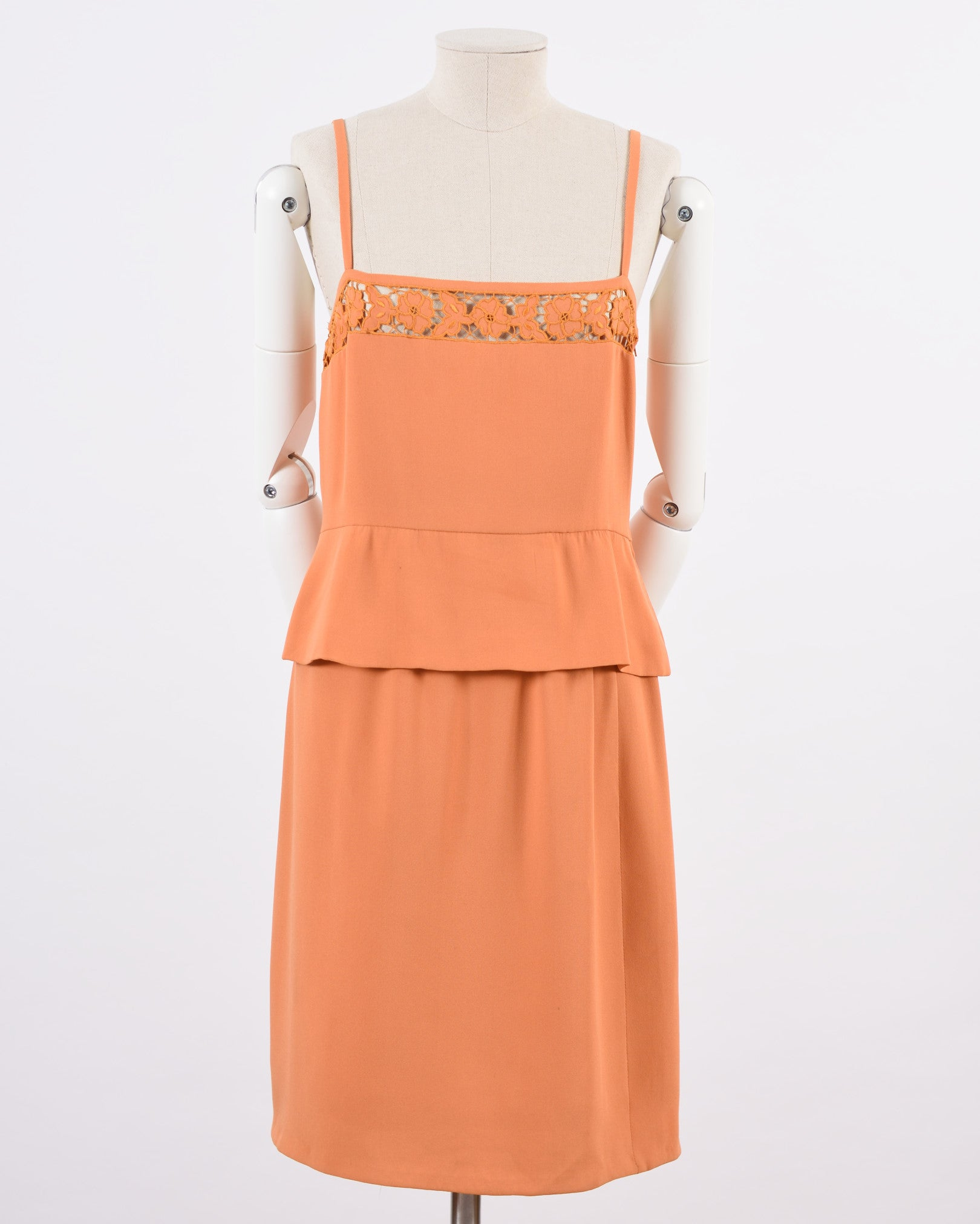 Lancetti Orange Embroidered Blouse and Pencil Skirt Set