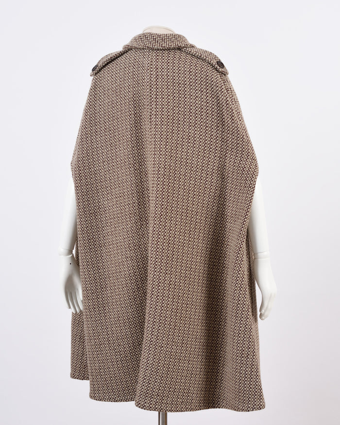 Valentino Brown Tweed Cape Coat