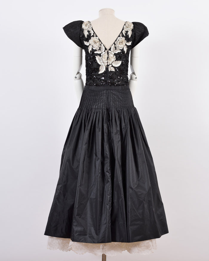 VALENTINO Black Floral Embroidered Ball Gown Dress