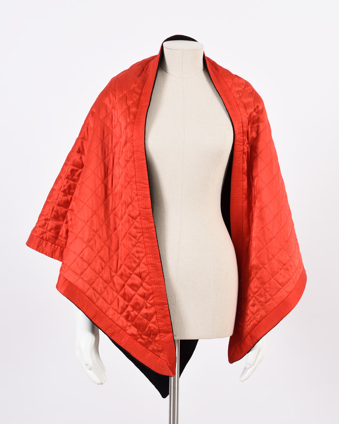 YSL Red & Black Reversible Poncho Cape