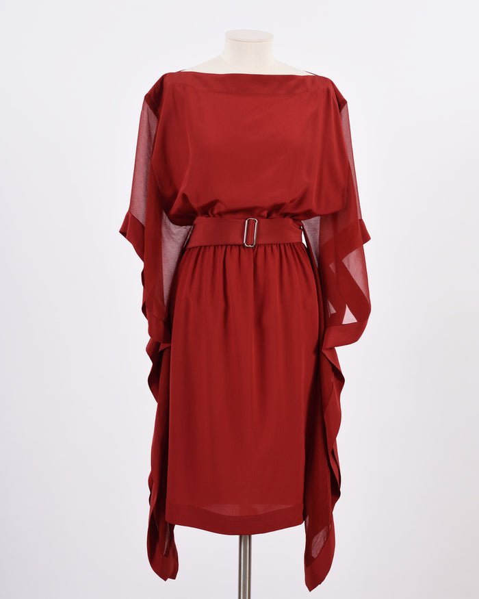 Hermes Dark Red Silk Dress
