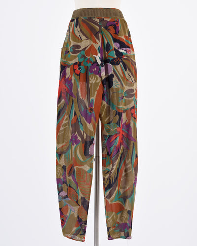 CALLAGHAN Brown silk abstract floral pants