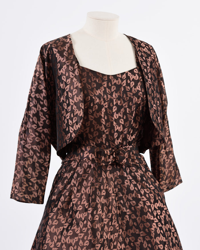 VINTAGE 1950s Brown Brocade Bolero Jacket and Dress Set