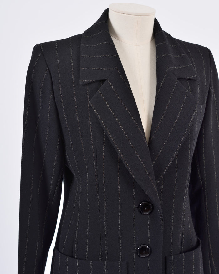 YVES SAINT LAURENT 1980s Black Pinstripe Suit, Pants & Skirt Set