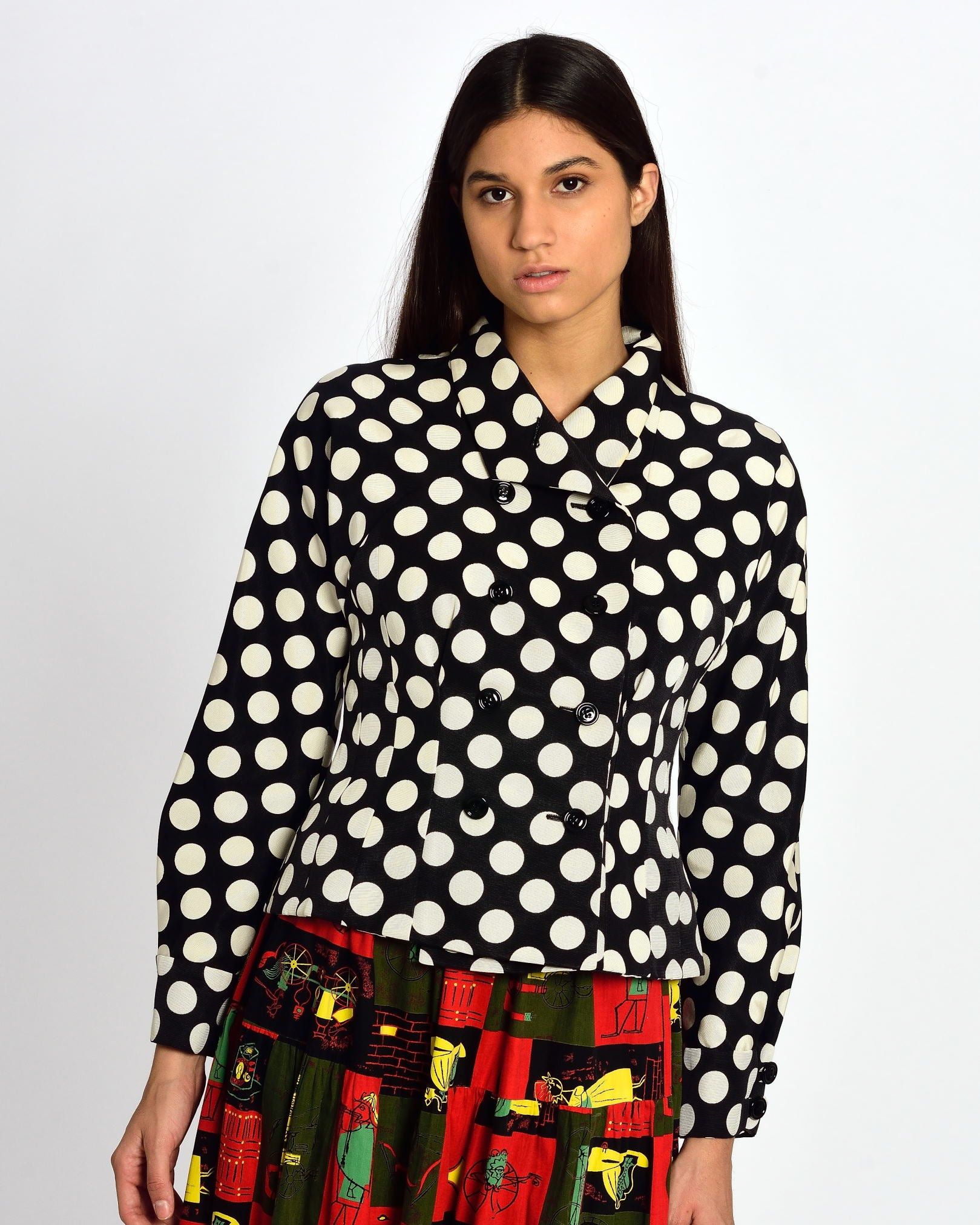 YVES SAINT LAURENT Black and White Polka Dot Jacket