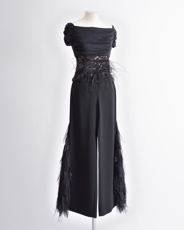 VALENTINO Black Feathers Top and Palazzo Pants Set