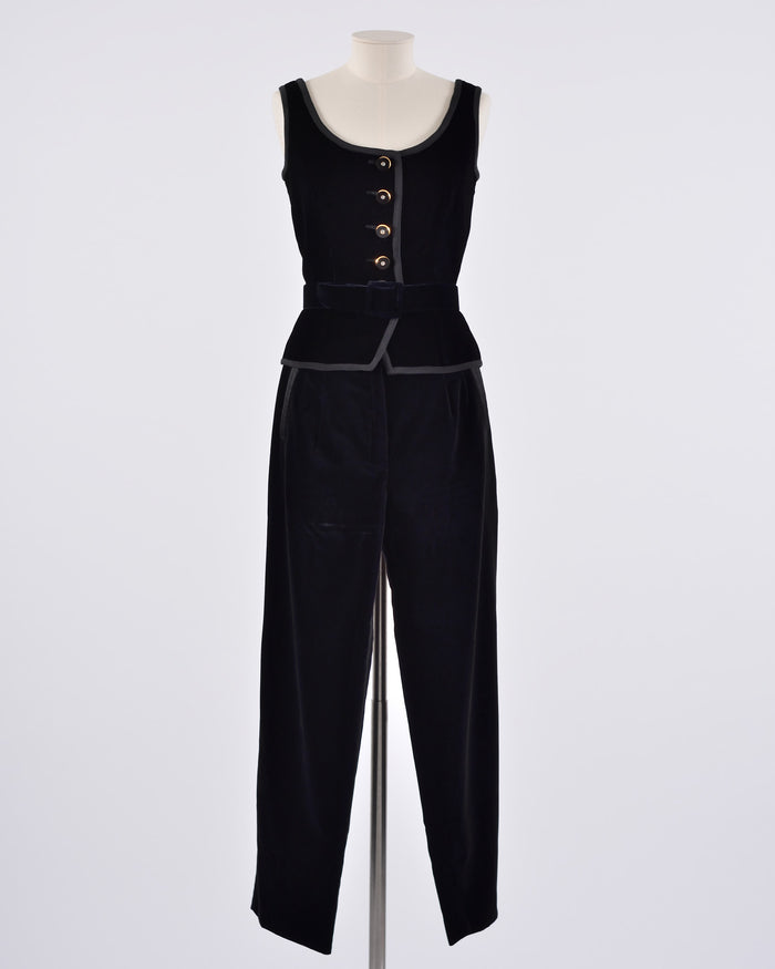 VALENTINO Black Velvet Vest and Pants Set