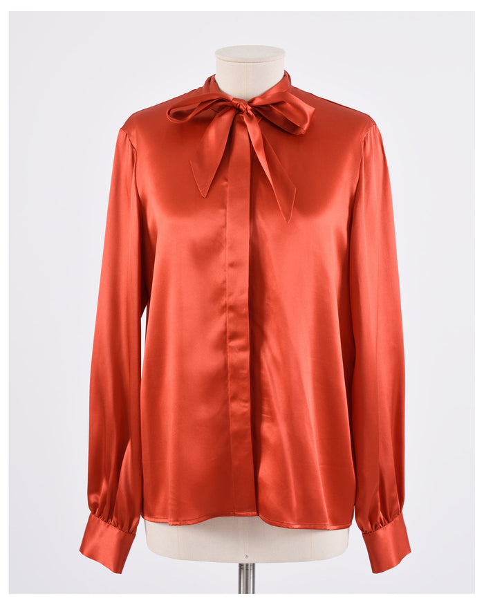 Rusty Red Satin Tie Neck Blouse Shirt