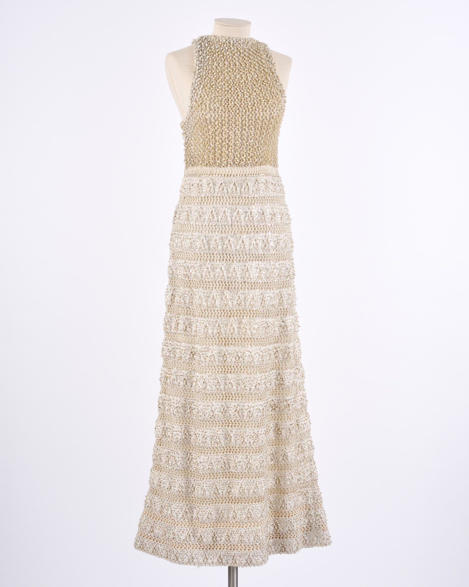 1960s White Knitted Embroidered Long Dress
