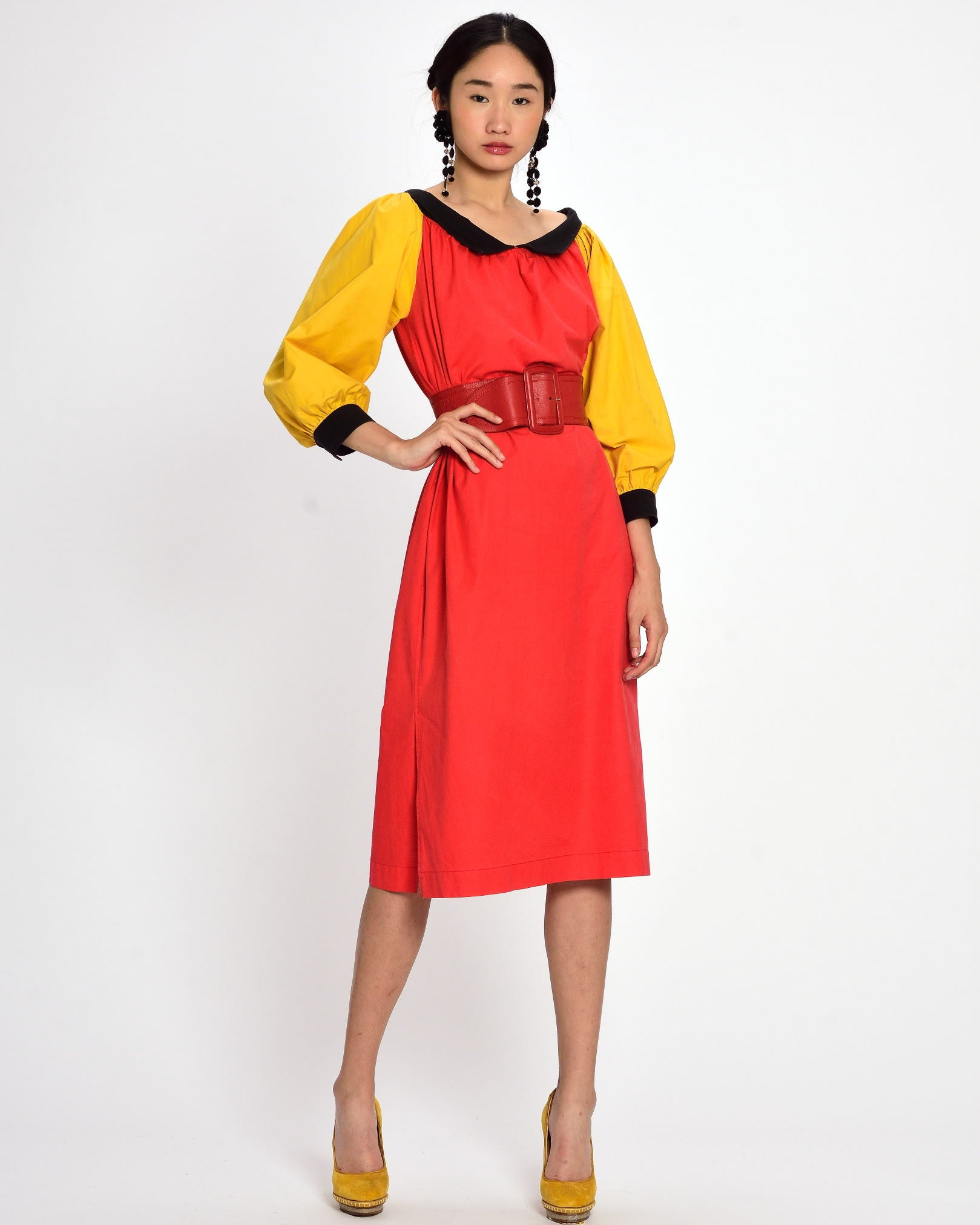 YVES SAINT LAURENT Orange and Yellow Dress