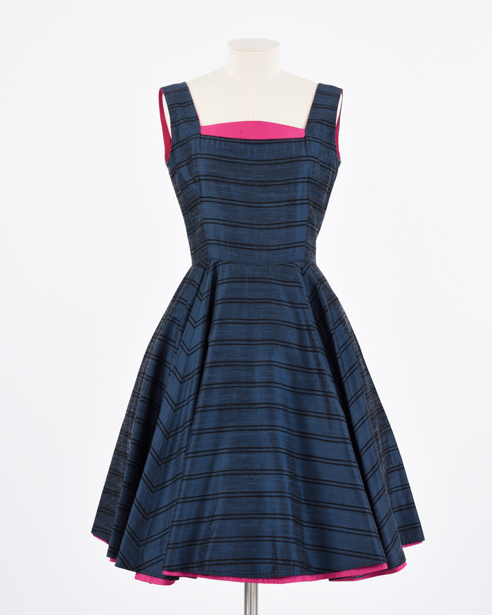 Vintage 1950s Navy Striped Cocktail Dress