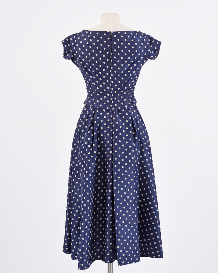 Vintage 1950s Blue Polka Dots Cocktail Dress-Cavalli e Nastri