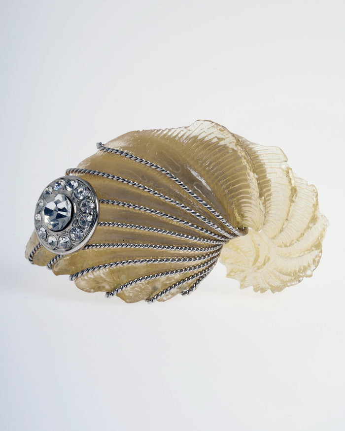 Gianfranco Ferré Off-White Shell Crystal Brooch