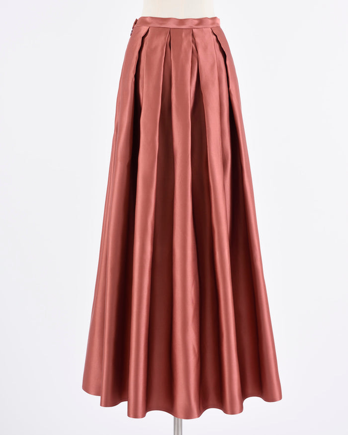 Rosewood Silk Satin Pleateds Skirt