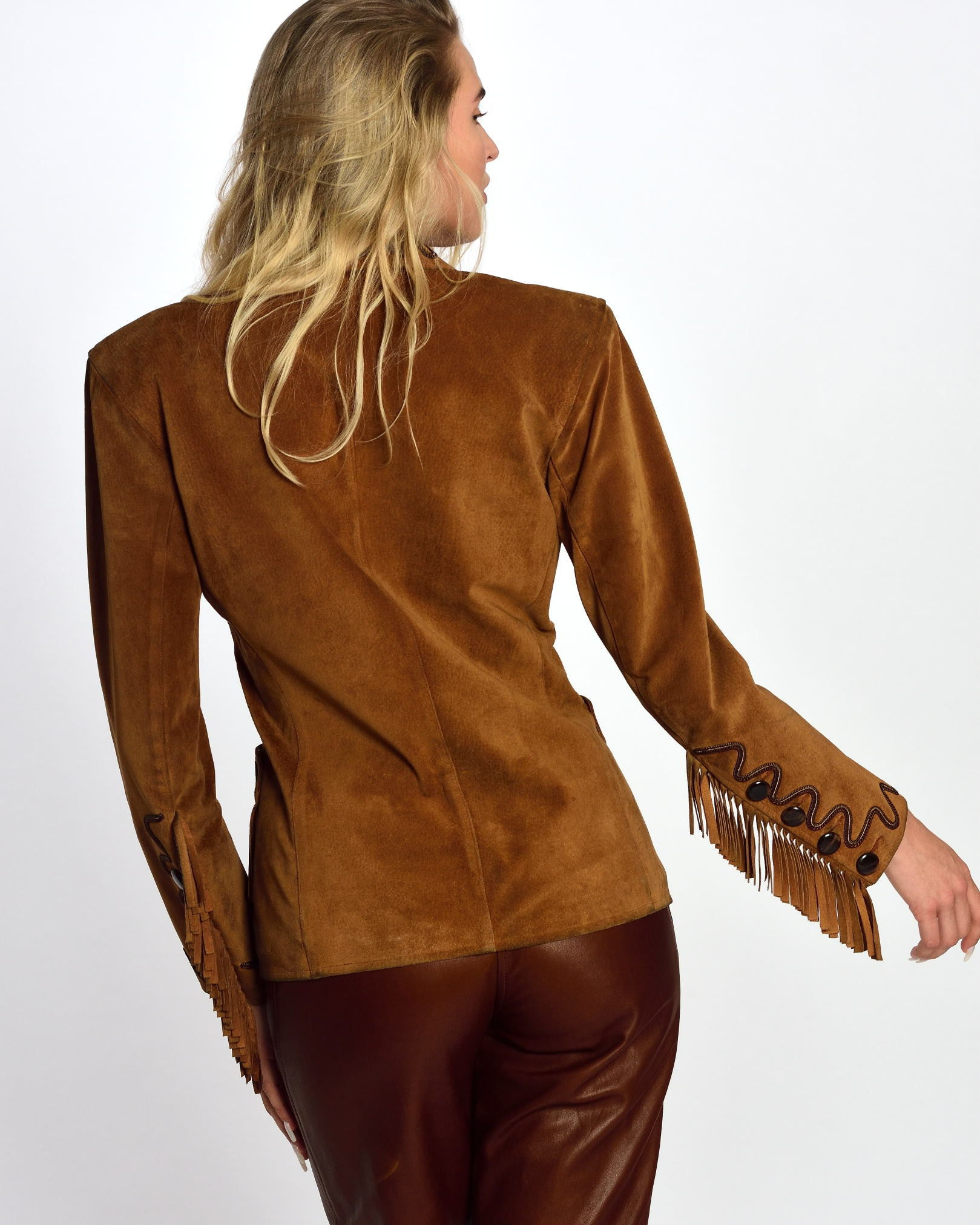 YVES SAINT LAURENT Brown Suede Leather Fringe Jacket