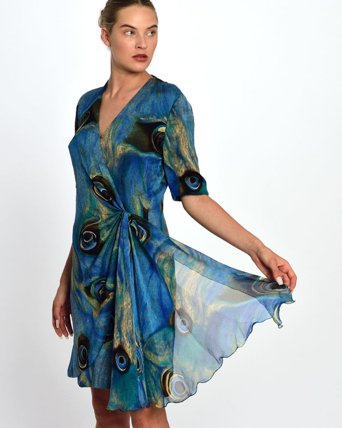 1980s Blue Draped Dress
