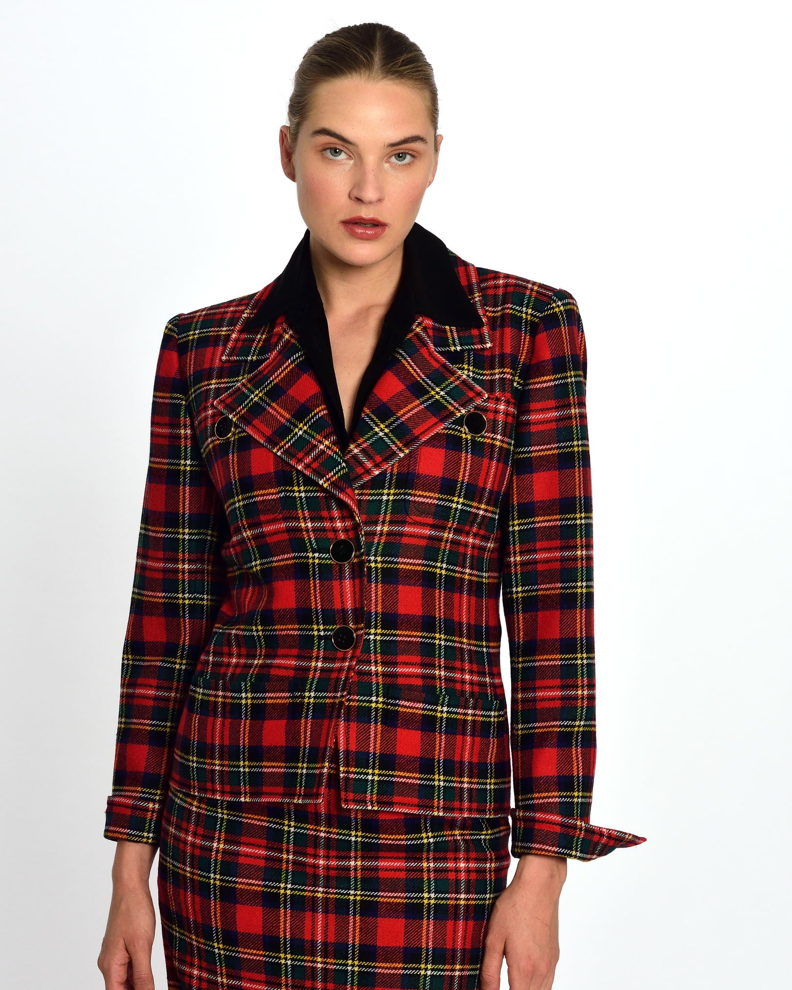 YVES SAINT LAURENT Tartan Suit Skirt