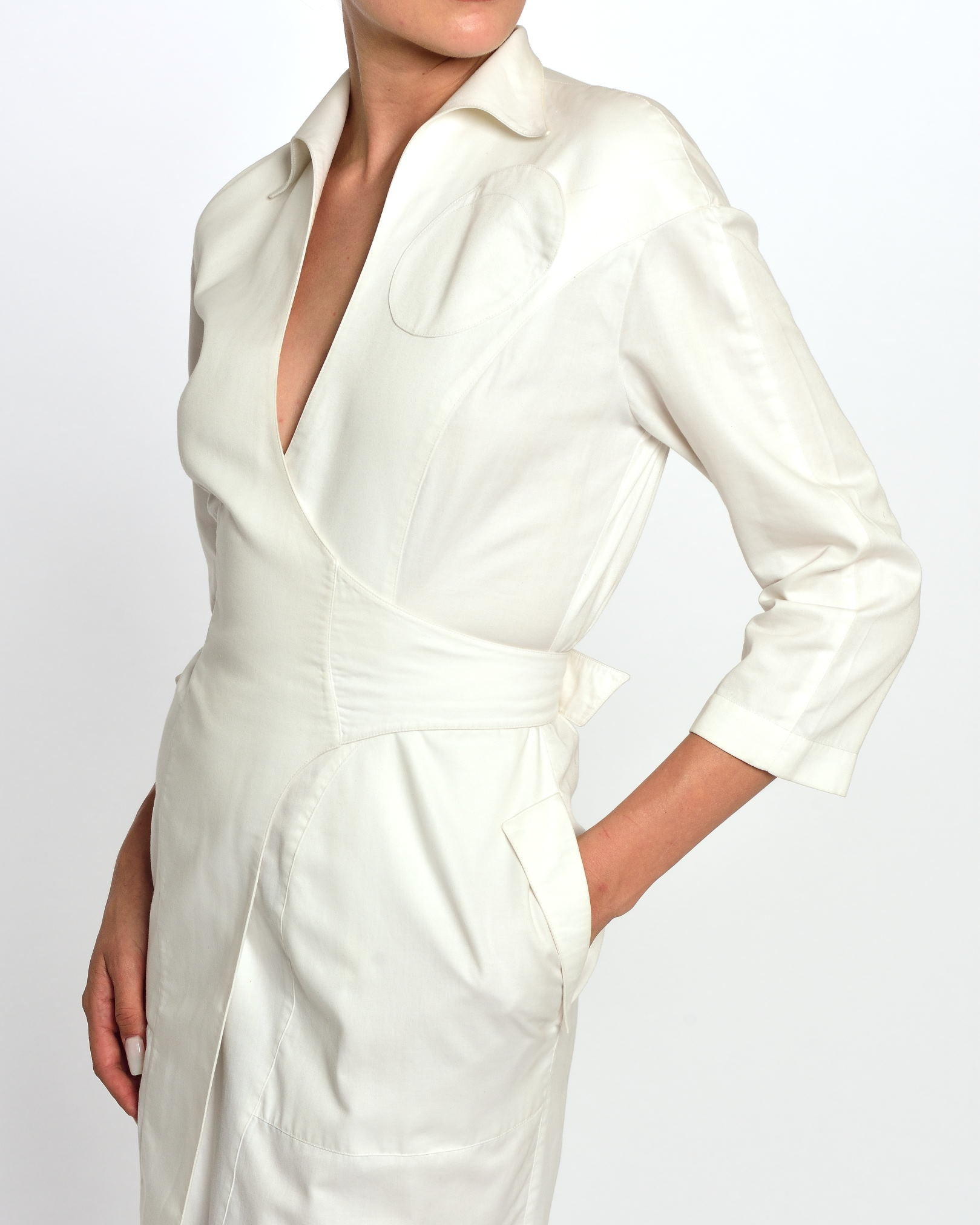 1980s White Dress - Trench Coat