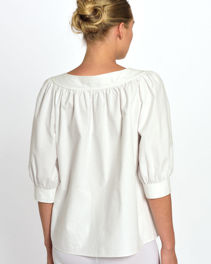 YVES SAINT LAURENT 1980s White Balloon Blouse
