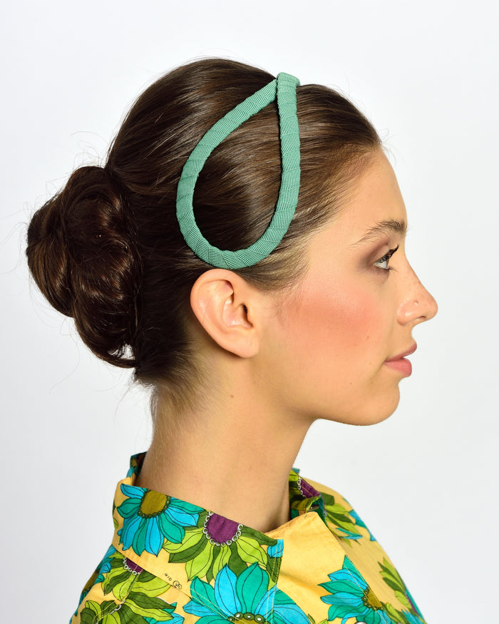 MISS GUMMO Mint Green Gros Grain Headpiece