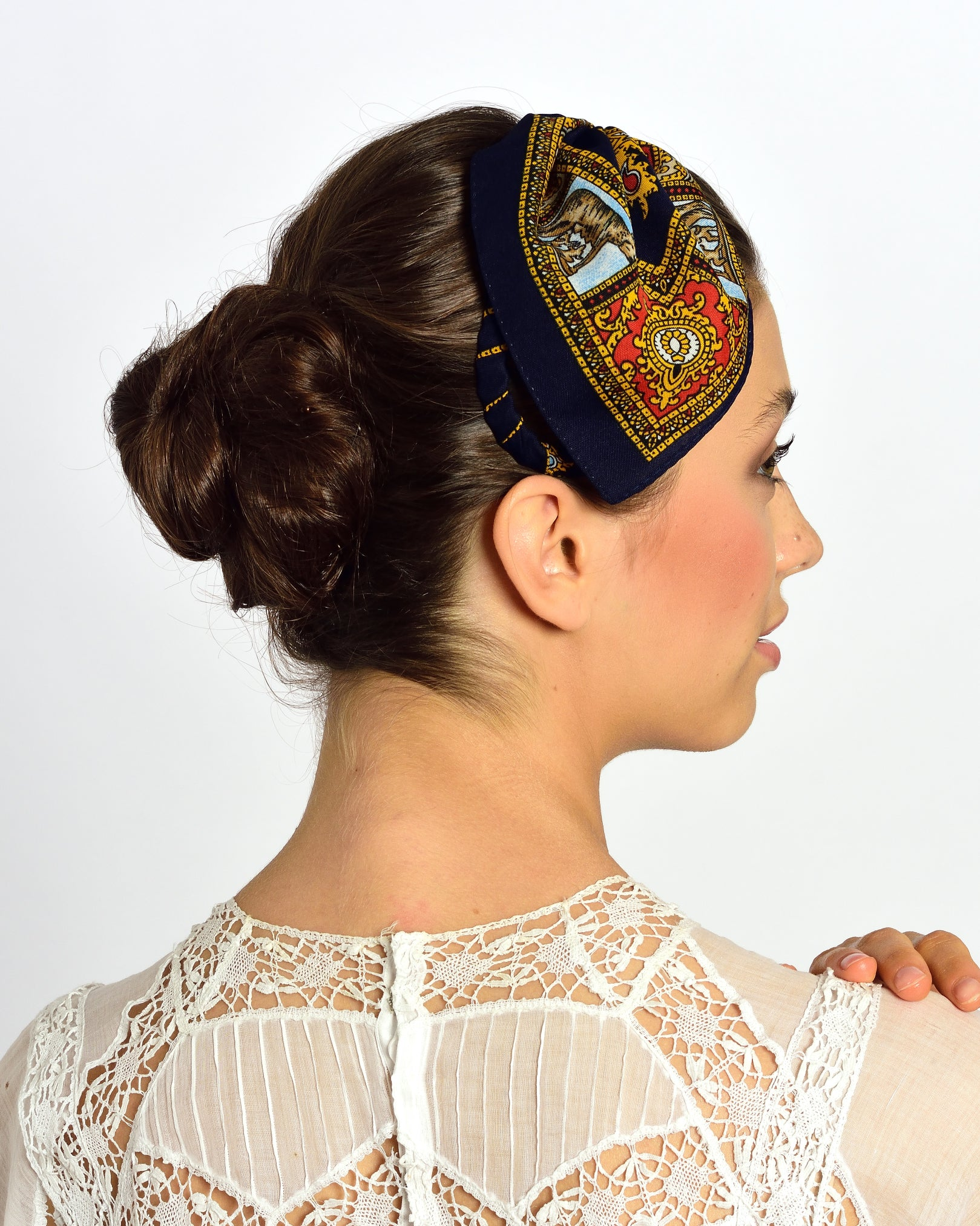 MISS GUMMO Navy Blue Foulard Headpiece