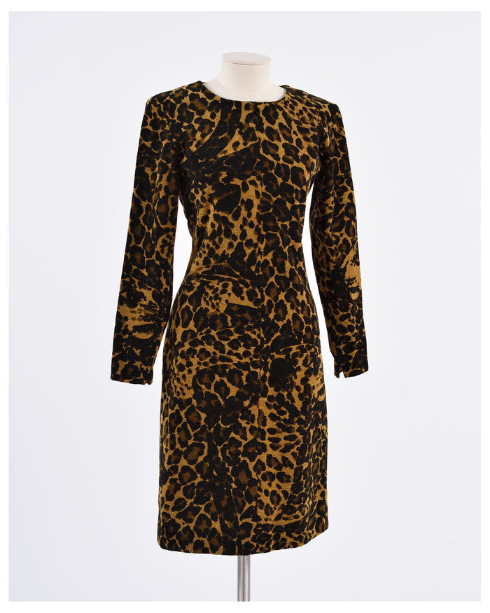 YVES SAINT LAURENT1980s Leopard Print Dress