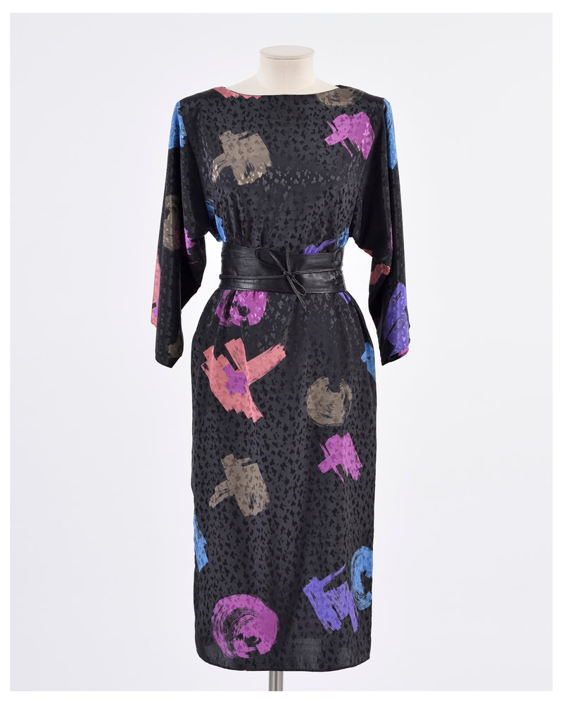 Vintage 1980s Abstract Print Dress-Cavalli e Nastri