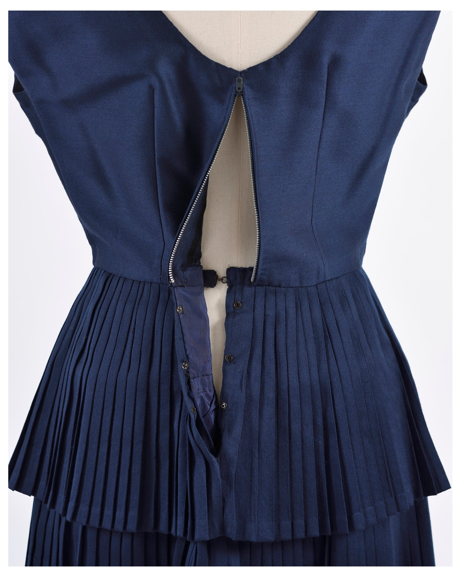 Vintage 1950s Navy Blue Cocktail Dress-Cavalli e Nastri