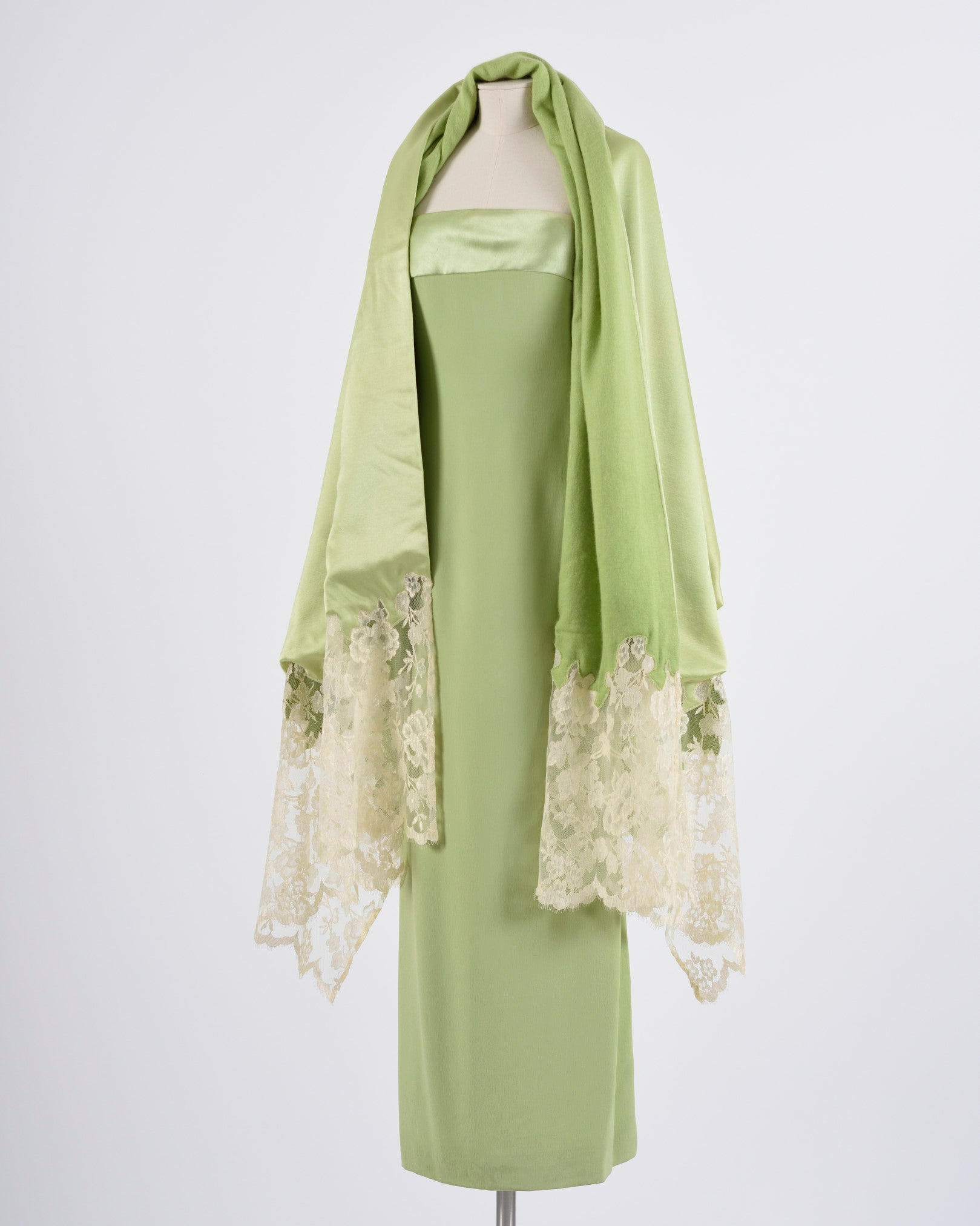 Lime Green Evening Dress & Scarf Set