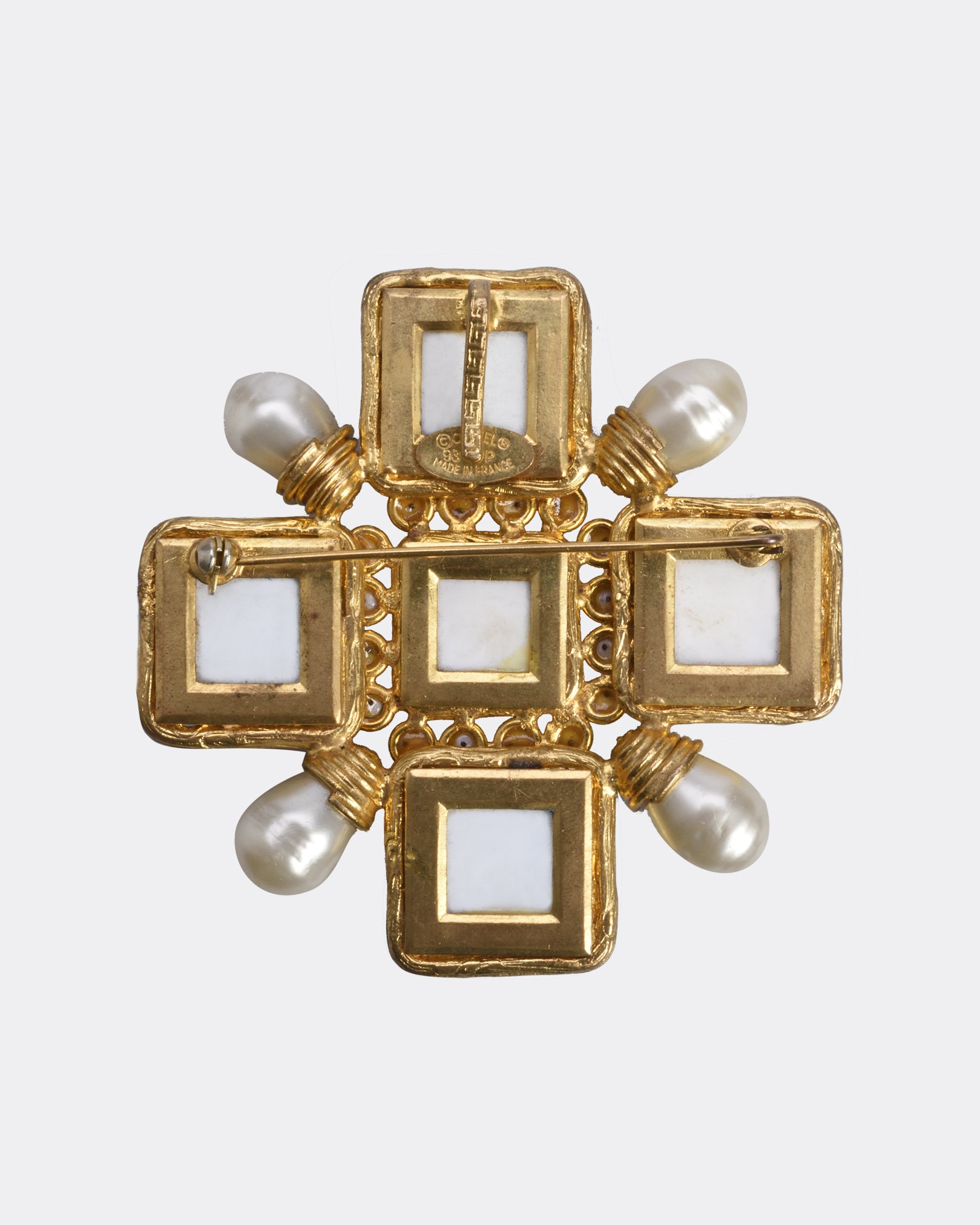 Chanel Gold Plated Metal with White Resin Brooch Pendant