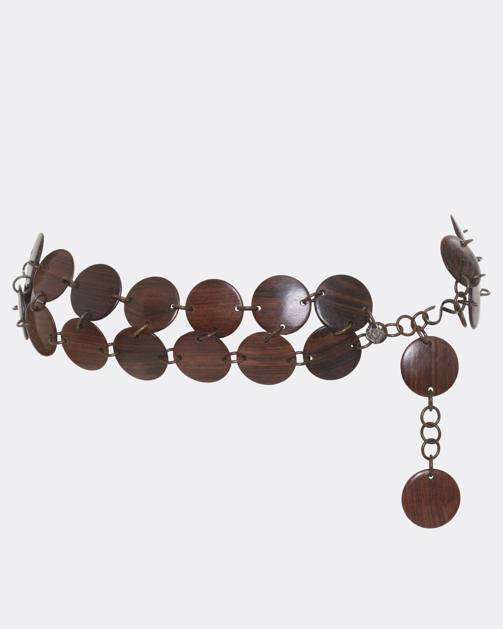 YVES SAINT LAURENT Wood Disc Necklace Belt
